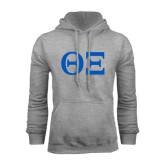 Grey Fleece Hoodie-Greek Letters - One Color