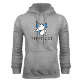 Grey Fleece Hoodie-Unicorn Word Mark