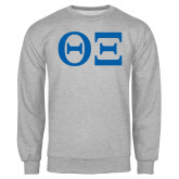 Grey Fleece Crew-Greek Letters - One Color