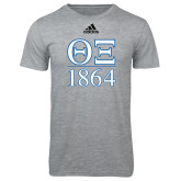Adidas Sport Grey Logo T Shirt-Greek Letters 1864 Stacked