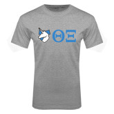 Grey T Shirt-Unicorn with Greek Letters