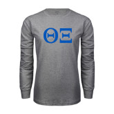 Grey Long Sleeve T Shirt-Greek Letters - One Color