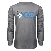 Grey Long Sleeve T Shirt-Unicorn with Greek Letters