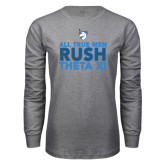 Grey Long Sleeve T Shirt-Rush - Slogan