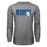 Grey Long Sleeve T Shirt-Rush Theta Xi Stacked