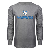 Grey Long Sleeve T Shirt-Theta Xi - Slogan Gradient Halftone