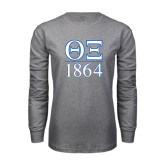 Grey Long Sleeve T Shirt-Greek Letters 1864 Stacked
