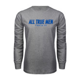 Grey Long Sleeve T Shirt-Slogan