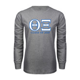 Grey Long Sleeve T Shirt-Greek Letters - Personalized Class Of...