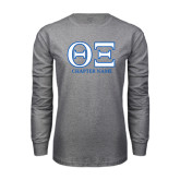 Grey Long Sleeve T Shirt-Greek Letters - Personalized Chapter Name