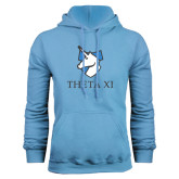 Light Blue Fleece Hoodie-Unicorn Word Mark