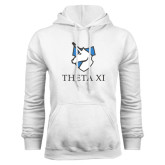 White Fleece Hoodie-Unicorn Word Mark