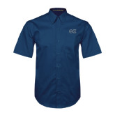 Navy Twill Button Down Short Sleeve-Greek Letters - One Color