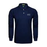 Navy Long Sleeve Polo-Greek Letters - One Color