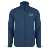 Navy Softshell Jacket-Greek Letters - One Color