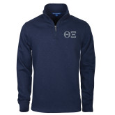 Navy Rib 1/4 Zip Pullover-Greek Letters - One Color