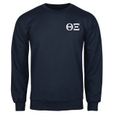 Navy Fleece Crew-Greek Letters - One Color