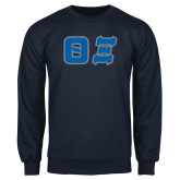 Navy Fleece Crew-Greek Letters Tackle Twill
