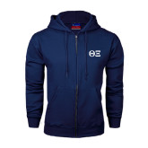 Navy Fleece Full Zip Hoodie-Greek Letters - One Color