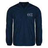 V Neck Navy Raglan Windshirt-Greek Letters - One Color