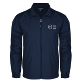 Full Zip Navy Wind Jacket-Greek Letters - One Color