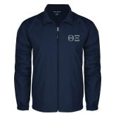 Full Zip Navy Wind Jacket-Greek Letters - One Color