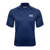 Navy Textured Saddle Shoulder Polo-Greek Letters - One Color