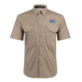Khaki Short Sleeve Performance Fishing Shirt-Greek Letters - One Color