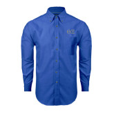 Mens Royal Oxford Long Sleeve Shirt-Greek Letters - One Color