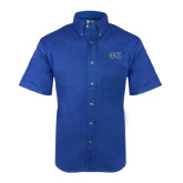 Royal Twill Button Down Short Sleeve-Greek Letters - One Color