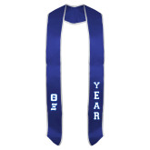 2017 Royal Graduation Stole w/White Trim-Greek Letters Tackle Twill Stacked