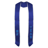 2018 Royal Graduation Stole w/White Trim-Greek Letters Tackle Twill Stacked