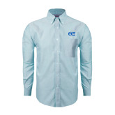 Mens Light Blue Oxford Long Sleeve Shirt-Greek Letters - One Color