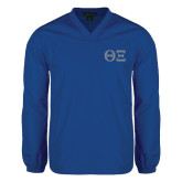 V Neck Royal Raglan Windshirt-Greek Letters - One Color