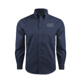 Red House Deep Blue Herringbone Long Sleeve Shirt-Greek Letters - One Color