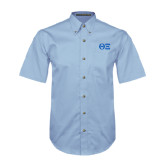 Light Blue Twill Button Down Short Sleeve-Greek Letters - One Color
