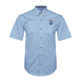 Light Blue Twill Button Down Short Sleeve-Crest