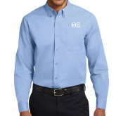 Light Blue Twill Button Down Long Sleeve-Greek Letters - One Color