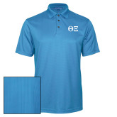 Light Blue Performance Fine Jacquard Polo-Greek Letters - One Color