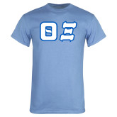 Light Blue T Shirt-Greek Letters Tackle Twill
