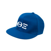 Royal Flat Bill Snapback Hat-Greek Letters - One Color