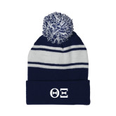 Navy/White Two Tone Knit Pom Beanie w/Cuff-Greek Letters - One Color