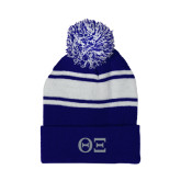 Royal/White Two Tone Knit Pom Beanie w/Cuff-Greek Letters - One Color