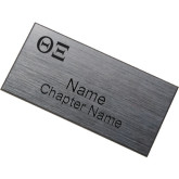 Brushed Silver w/ Black Name Badge-Greek Letters - One Color Engraved