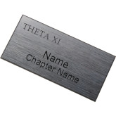 Brushed Silver w/ Black Name Badge-Theta Xi Word Mark Engraved