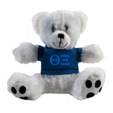Plush Big Paw 8 1/2 inch White Bear w/Navy Shirt-Greek Letters - One Color