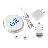 3 in 1 White Audio Travel Kit-Greek Letters - One Color
