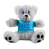 Plush Big Paw 8 1/2 inch White Bear w/Light Blue Shirt-Greek Letters - One Color