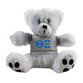 Plush Big Paw 8 1/2 inch White Bear w/Grey Shirt-Greek Letters - One Color