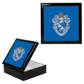 Ebony Black Accessory Box With 6 x 6 Tile-Crest